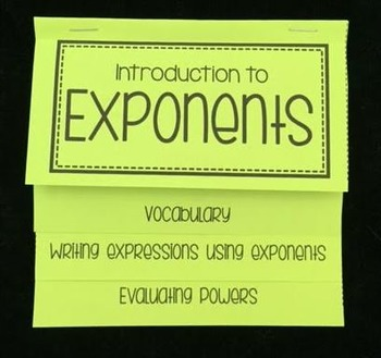 Introduction to Exponents (Foldable)