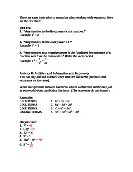 Introduction to Exponents Lesson Plan (High School)