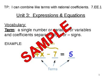 Introduction to Expressions and Equations using variables