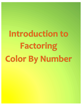 Introduction to Factoring Color By Number
