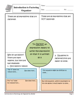 Factoring Introduction and Organizer