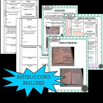 Introduction to Factoring and Finding GCF Interactive Notebook Page