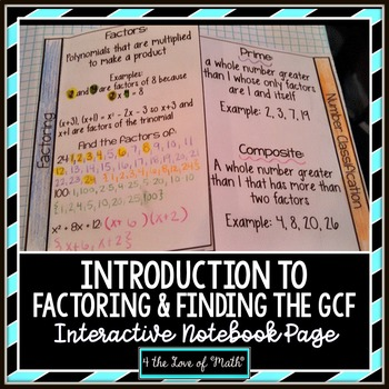 Introduction to Factoring and Finding GCF Interactive Note