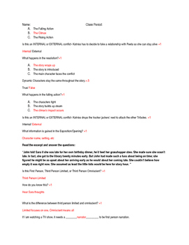 Introduction to Fiction Final Assessment w/ Answer Key