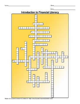Introduction to Financial Literacy Crossword