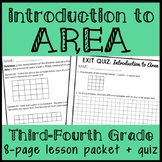 Introduction to Finding Area, 3rd - 4th Grade Area of Rectangles Lesson Packet