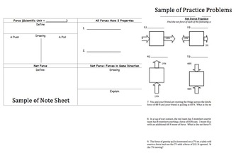 Introduction to Forces Power Point, Student Note Sheet, & Problems