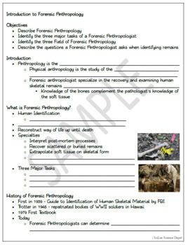 Introduction To Forensics Anthropology Powerpoint Student Notes Worksheet