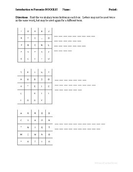 Introduction to Forensics BOGGLE!