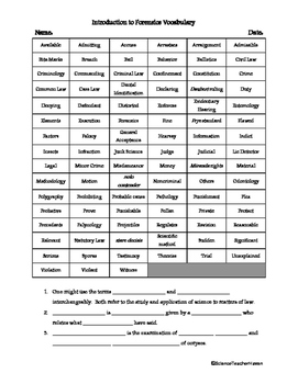 Introduction to Forensics Vocabulary Review