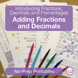 Fraction and Decimal Sums Worksheets/Printables