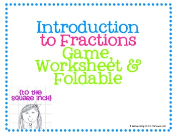 Introduction to Fractions Activities