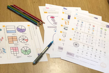 Fractions, Decimals and Percentages Introduction Worksheets/Printables