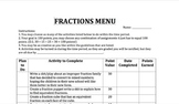 Introduction to Fractions Menu