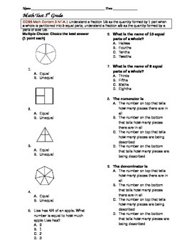 Introduction to Fractions Test