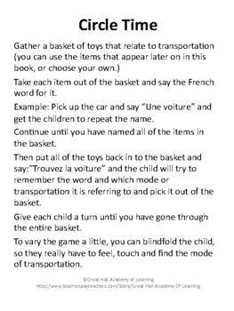 Introduction to French Words:  Transportation / En Route