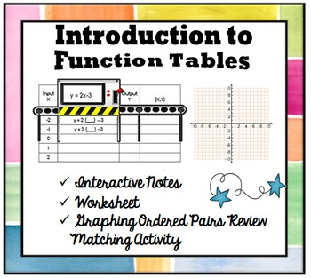 Introduction to Function Tables- Interactive Notebook Bundle