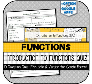 Introduction to Functions QUIZ (Printable & Version for Google Forms)