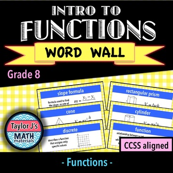Introduction to Functions Word Wall