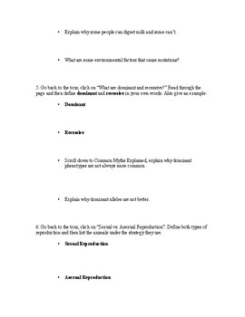 Introduction to Genetics Webquest