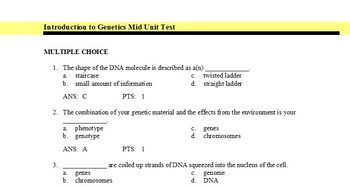 Introduction to Gentetics Mid Unit Test Exam View Bank