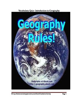 Introduction to Geography Vocabulary Quiz