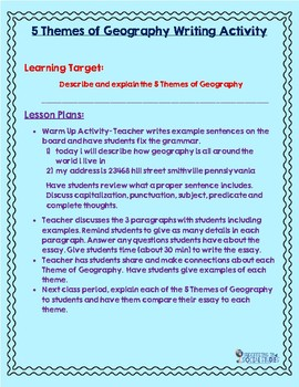 Introduction to Geography Writing Activity