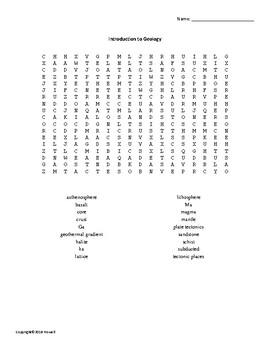 Introduction to Geology Vocabulary Word Search for Geology Students
