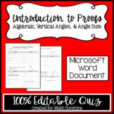 Introduction to Geometry Proofs Editable Quiz (Algebraic,