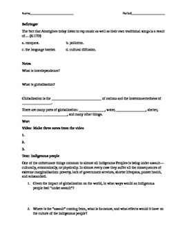 Introduction to Globalization One Page Worksheet (double-sided)