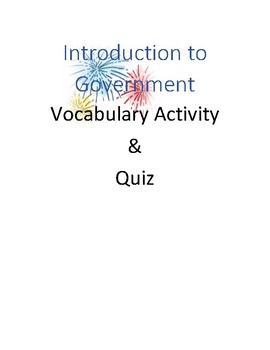 Introduction to Government Vocabulary Activity