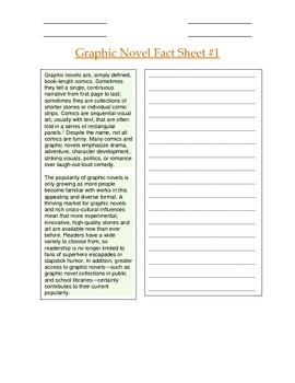 Introduction to Graphic Novels: Differentiated Jig-Saw Fact Sheets