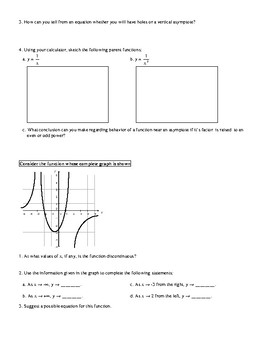 Introduction to Graphing Rational Functions Exploration