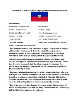 Introduction to Haiti and Haitian Flag Day with Comprehension Questions