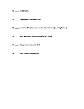 Introduction to Health Scavenger Hunt