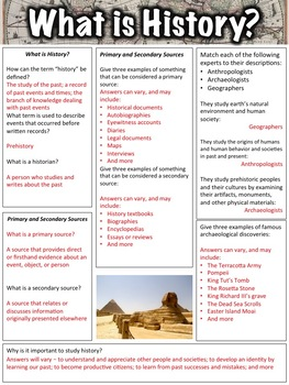 Introduction to History Worksheet