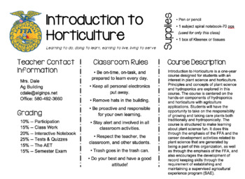 Introduction to Horticulture Syllabus