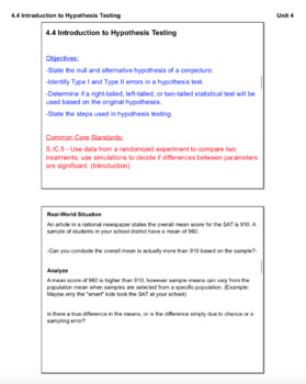 Introduction to Hypothesis Testing (Lesson with Homework)