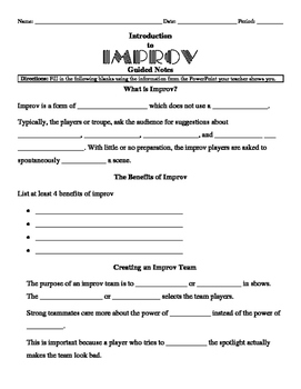 Introduction to Improv Guided Notes