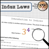 Introduction to Indices Powers Worksheet with examples and