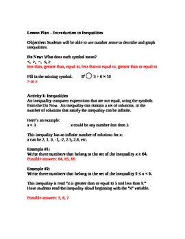 Introduction to Inequalities Lesson Plan