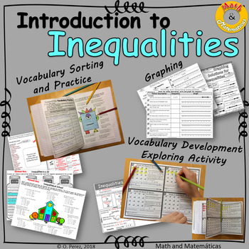 Introduction to Inequalities -Vocabulary Sorting and Practice - Graphing - Notes