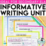 Explanatory and Informational Writing Unit for Secondary ELA
