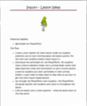 Introduction to Inquiry - Powerpoint with worksheet Grades 5-8