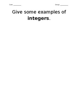 Introduction to Integers KWL Group Work