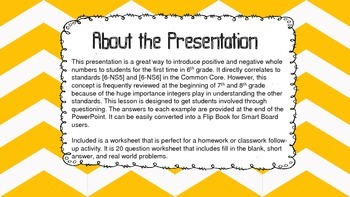 Introduction to Integers PowerPoint Lesson 6th, 7th, 8th Grade
