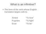 Introduction to Latin Infinitive Types