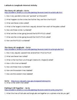 Introduction to Latitude and Longitude Internet Activity