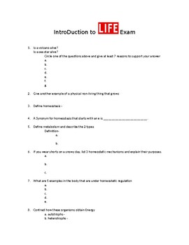Introduction to Life Biology Exam
