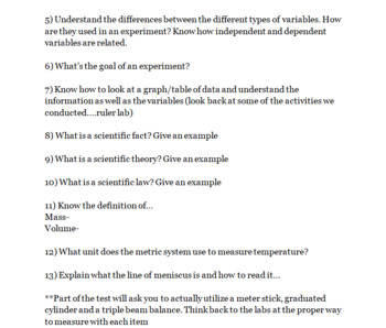 Introduction to Life Science Test and Study Guide - Science Basics